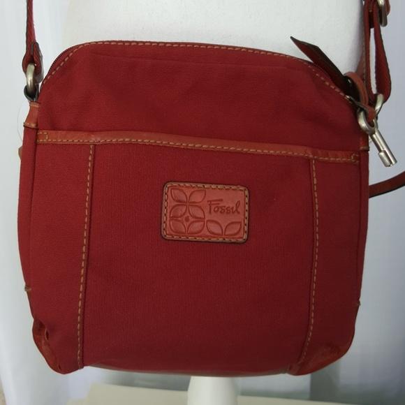f19b3f9195c11e Fossil Bags | Leather Canvas Crossbody Bag 10 X 10 | Poshmark